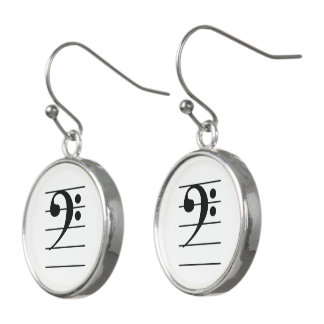 Black-on-White Bass Clef on Staff Music Earrings