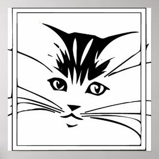 Black on White Cat Outline Poster