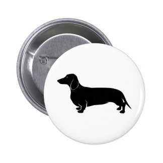 Black on White Dachsund 6 Cm Round Badge