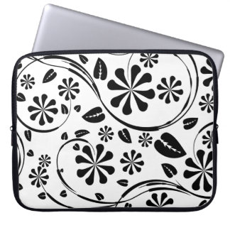 Black on White Daisy Flower Pattern Computer Sleeves