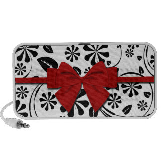 Black on White Daisy Flower Pattern iPod Speaker