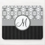 Black on White Damask and Stripes with Monogram