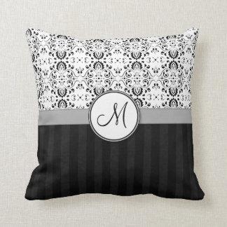 Black on White Damask and Stripes with Monogram Cushion