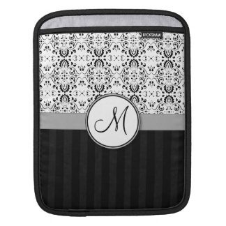 Black on White Damask and Stripes with Monogram Sleeves For iPads