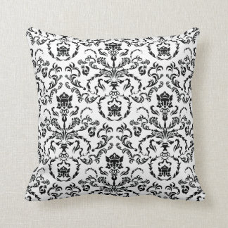 Black on White Damask Cushion