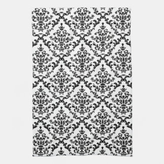 Black on White Damask Floral Tea Towel