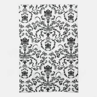 Black on White Damask Tea Towel