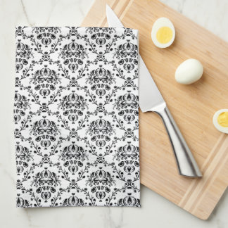 Black on White Damask Towels