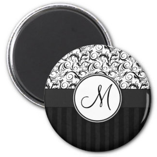 Black on White Floral Wisps, Stripes & Monogram 6 Cm Round Magnet