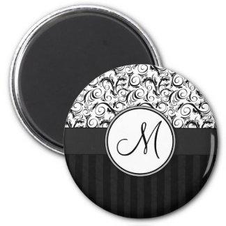 Black on White Floral Wisps, Stripes & Monogram 6 Cm Round Magnet
