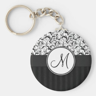 Black on White Floral Wisps, Stripes & Monogram Key Ring