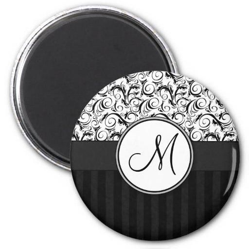 Black on White Floral Wisps, Stripes & Monogram Magnets