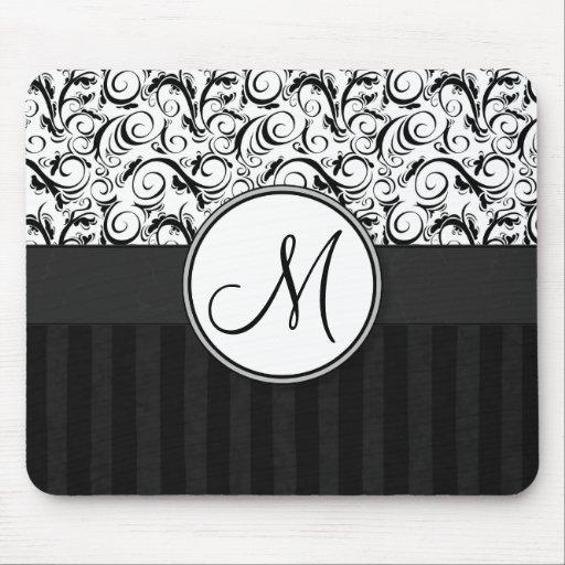 Black on White Floral Wisps, Stripes & Monogram Mouse Pads