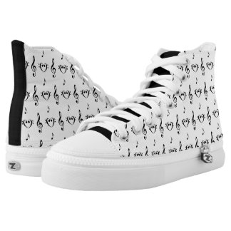Black on White Musical Hi Top Printed Shoes