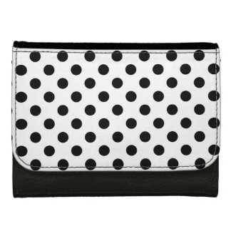 Black on White Polka Dot Leather Wallet For Women