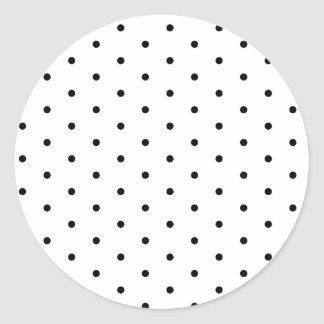 Black on White Polka Dots Classic Round Sticker