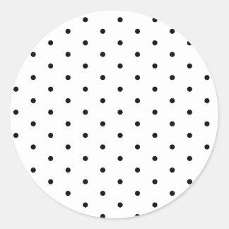 Black on White Polka Dots Round Sticker