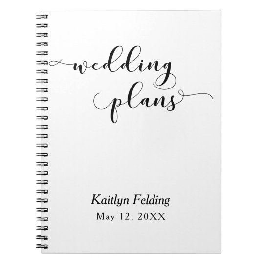 Black on White Script Typography Wedding Planner Notebook