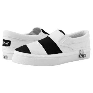 Black on White Slip-On Shoes