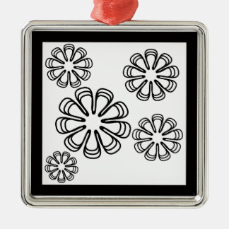 Black on White Spirals Christmas Ornament