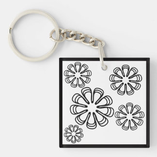 Black on White Spirals Key Ring