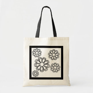 Black on White Spirals Tote Bag