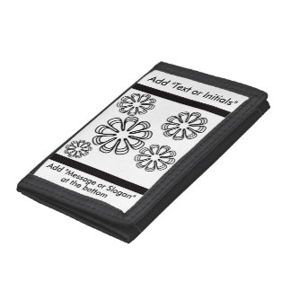 Black on White Spirals Trifold Wallet