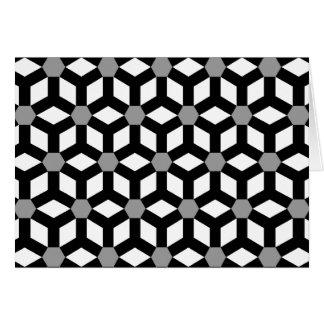 Black on White Tiled Hex Greeting Gard Greeting Card