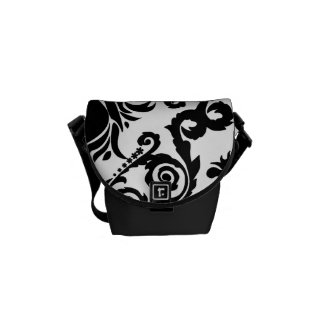 Black on White Tulip Damask Commuter Bags