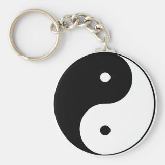 Black on White Yin Yang Key Ring