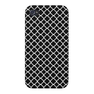 Black onyx quatrefoil design iphone 4 case / cover