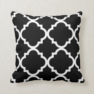 Black or ANY COLOR White Quaterfoil Throw Pillow Cushion