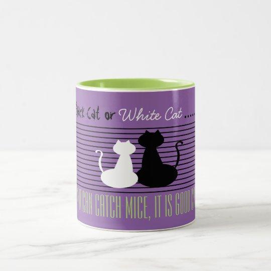 Black or White Cat - Good Cat, Violet Green Mug