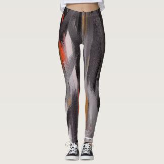 Black Orange Abstract Painting Leggings