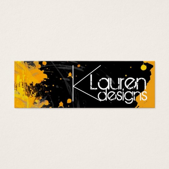black orange abstract skinny business card