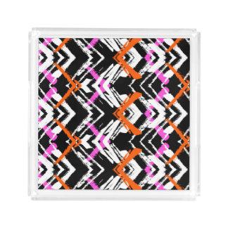 Black, Orange, And Pink Hand Drawn Arrow Pattern Acrylic Tray