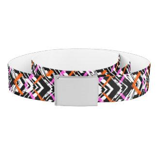 Black, Orange, And Pink Hand Drawn Arrow Pattern Belt
