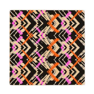 Black, Orange, And Pink Hand Drawn Arrow Pattern Wood Coaster