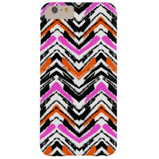 Black, Orange, And Pink Hand Drawn Chevron Pattern Barely There iPhone 6 Plus Case