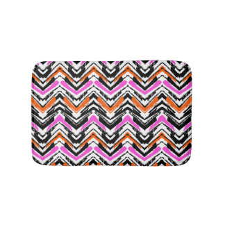 Black, Orange, And Pink Hand Drawn Chevron Pattern Bath Mat