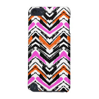 Black, Orange, And Pink Hand Drawn Chevron Pattern iPod Touch (5th Generation) Cover