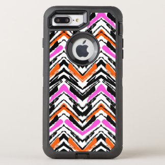 Black, Orange, And Pink Hand Drawn Chevron Pattern OtterBox Defender iPhone 8 Plus/7 Plus Case