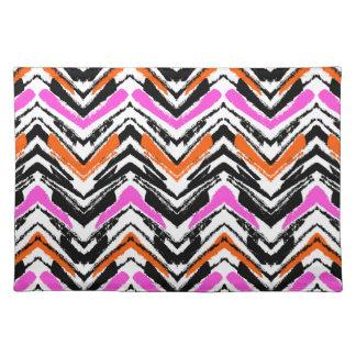 Black, Orange, And Pink Hand Drawn Chevron Pattern Placemat