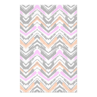 Black, Orange, And Pink Hand Drawn Chevron Pattern Stationery Paper
