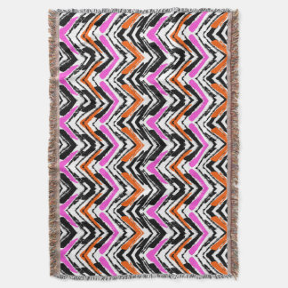Black, Orange, And Pink Hand Drawn Chevron Pattern Throw Blanket