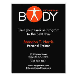 Black Orange and White Body Madness Fitness Flyers