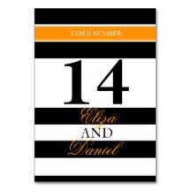 Black orange banded striped wedding table numbers