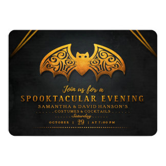 Black & Orange Bat Spooktacular Evening Invite