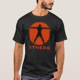 Black Orange Body Madness Fitness Vitruvian Man T-Shirt