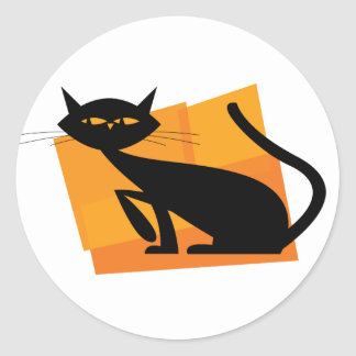 Black & Orange Cat Round Sticker